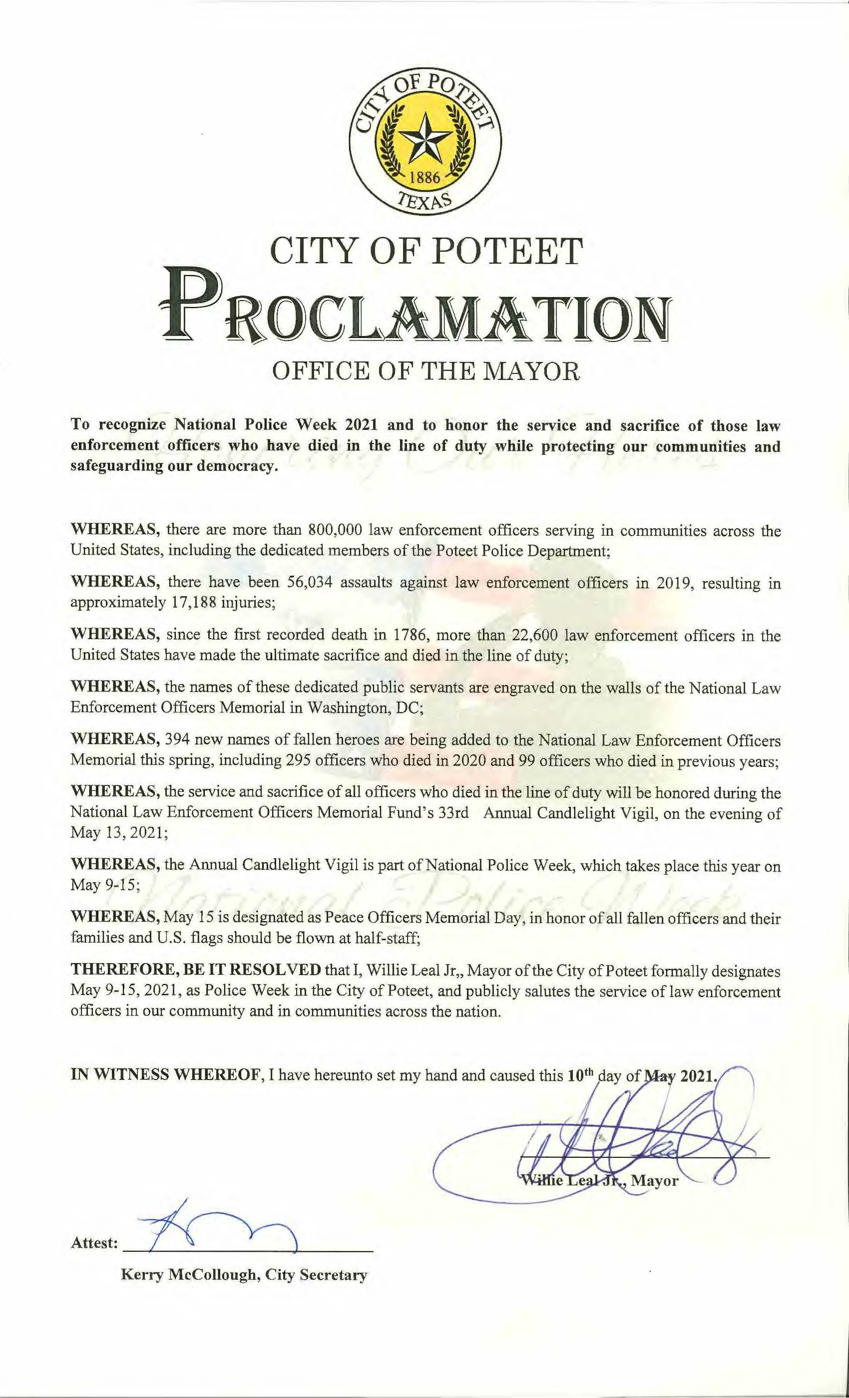 20210510 Proclamation for Police Week